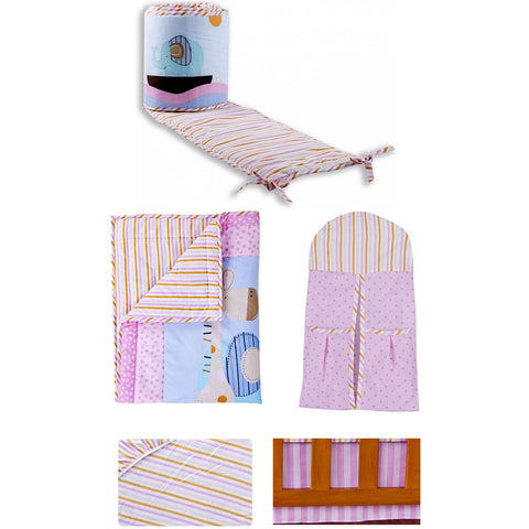Dream On Me 5 Pc Set Portable Crib Bedding Set, Sea Friends