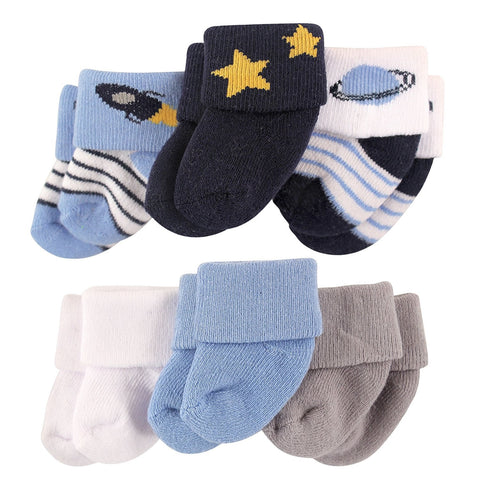 Luvable Friends Newborn Baby Socks 6 Pack - Space