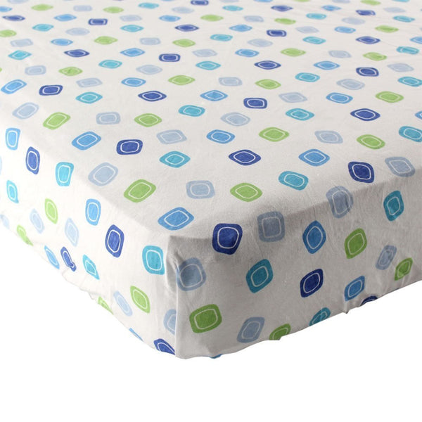 Luvable Friends Geometric Print Fitted Knit Crib Sheet, Blue