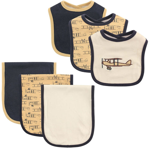 Hudson Baby Bib and Burp Cloth Set, Airplane