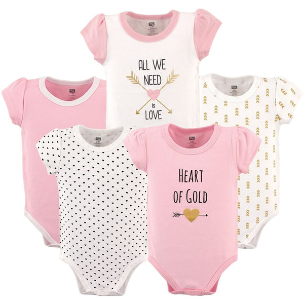 Hudson Baby 5-Pack Hanging Bodysuit - Heart, Large
