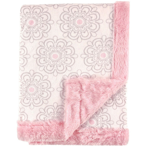 Hudson Baby Plush Blanket with Furry Binding & Back, Modern Floral