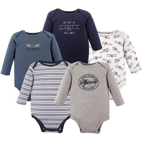 Hudson Baby 5 Long Sleeve Bodysuits - Aviation, Small