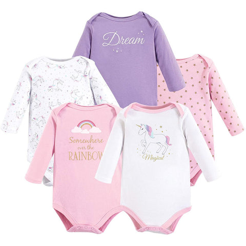 Hudson Baby 5 Long Sleeve Bodysuits - Magical Unicorn, Small
