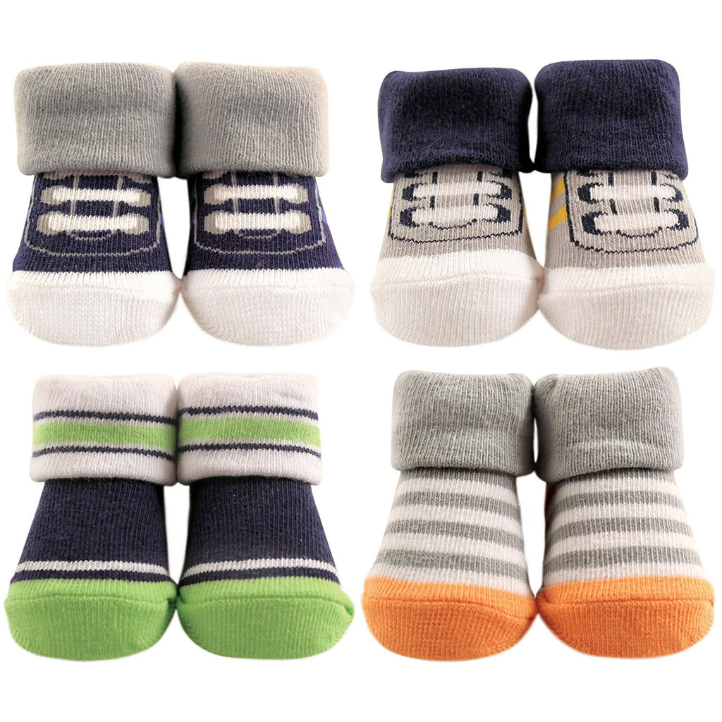 Hudson Baby 4-Piece Baby Boy Socks, Athletic