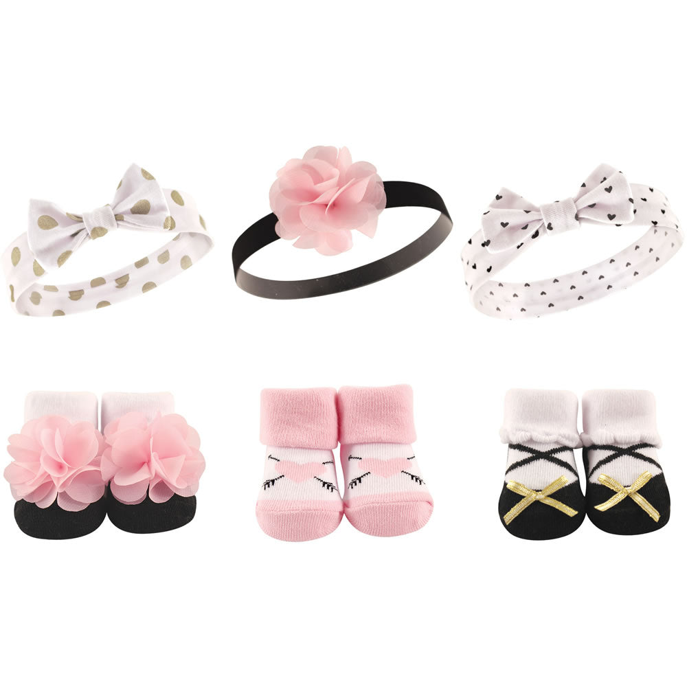 Hudson Baby Baby Girls Headband and Socks Set, Pink/Gold