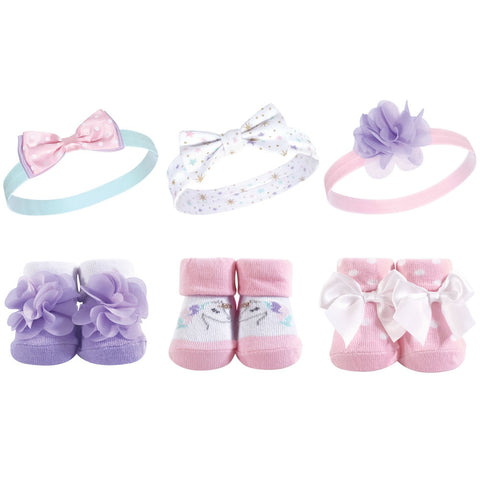 Hudson Baby Baby Girls Headband and Socks Set, Magical Unicorn