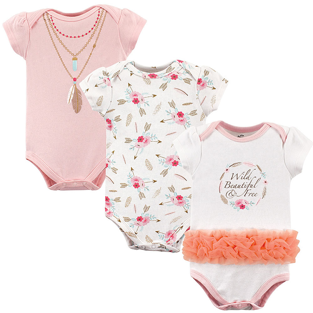 Little Treasure Baby Cotton Bodysuits - Boho, XLarge