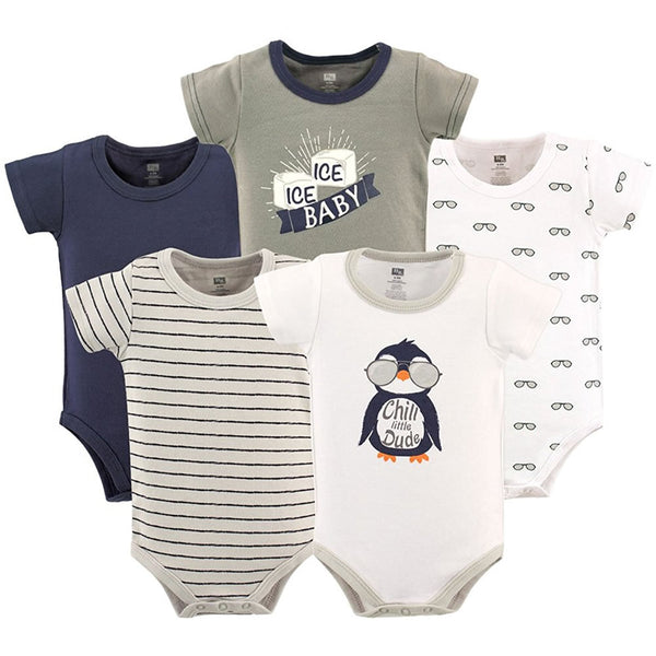 Hudson Baby 5-Pack Cotton Bodysuits - Chill Dude, Small