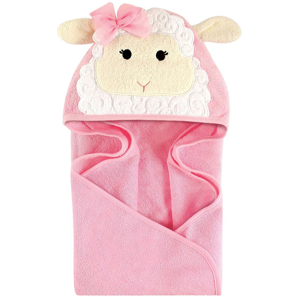 Hudson Baby Animal Face Hooded Bath Robe, Little Lamb