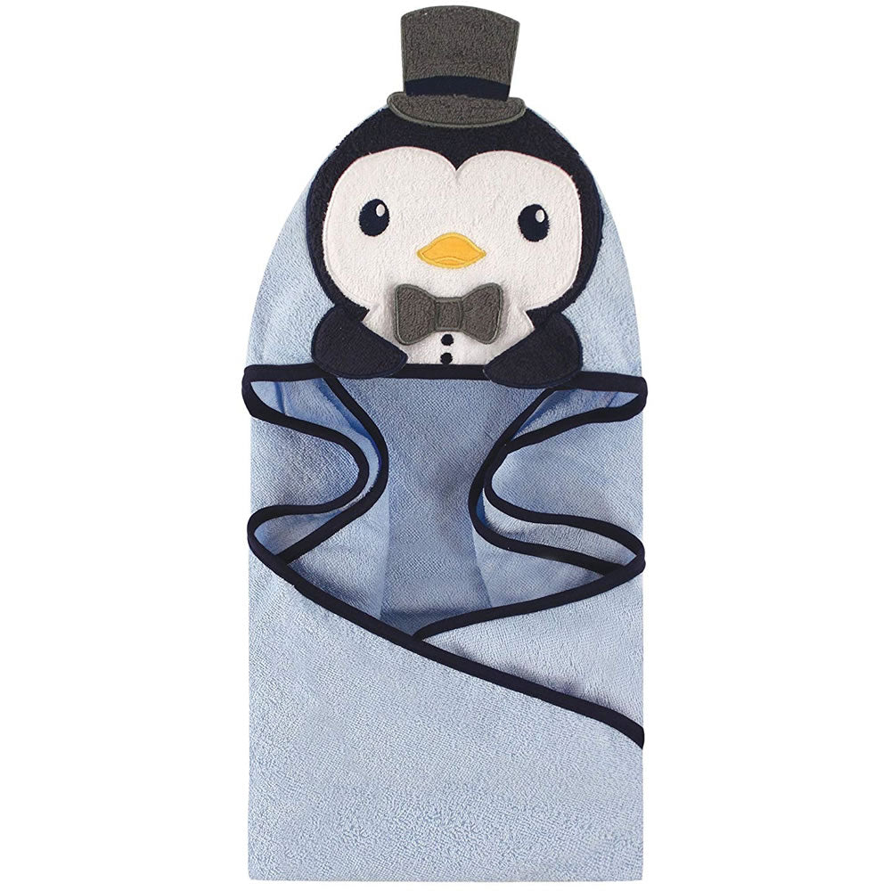 Hudson Baby Animal Face Hooded Bath Robe, Handsome Penguin
