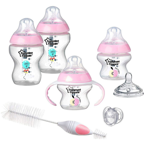 Tommee Tippee Closer to Nature Newborn Set Bottles, Pink