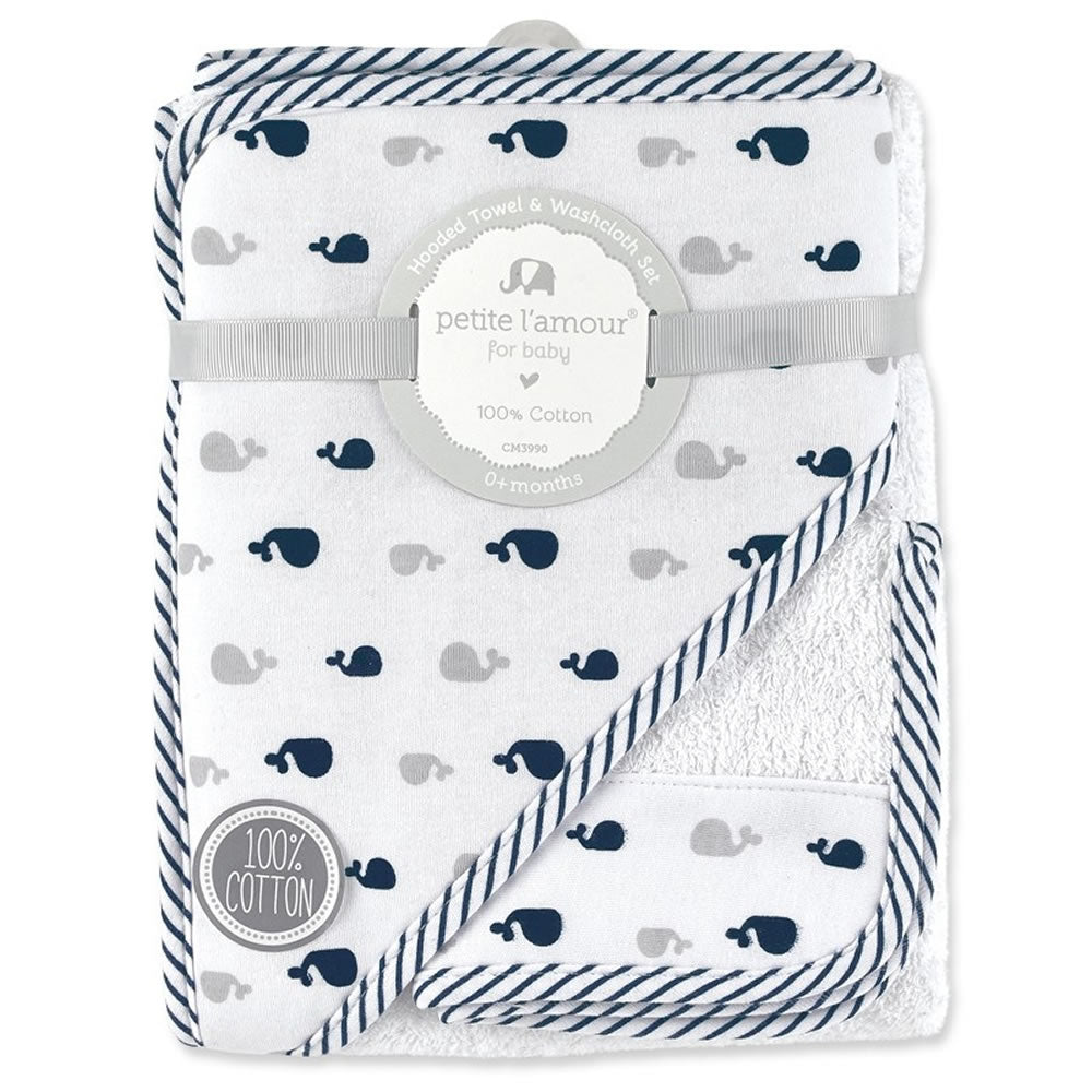 Petite L'amour Hooded Towel & Washcloth Set - Blue Whale