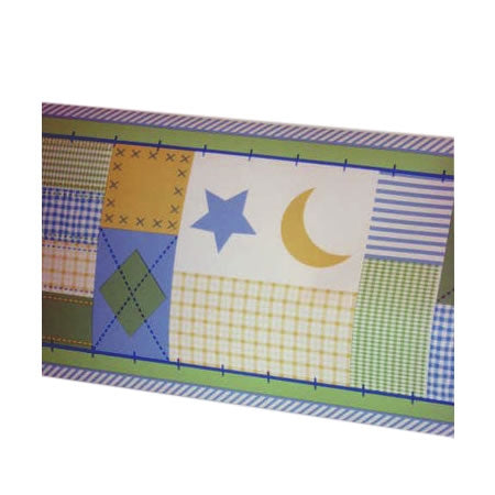 Kidsline Monterey Wall Border, Stripes Plaids, Blue & Yellow