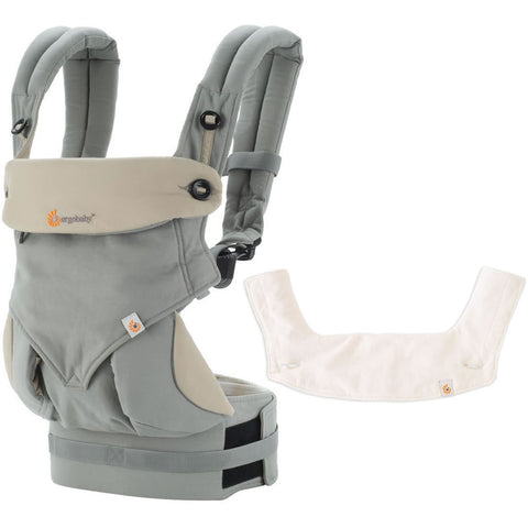 ERGObaby Four Position 360 Baby Carrier With Natural Bib, Grey