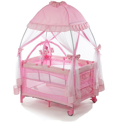 Big Oshi Playard with Mosquito Net & Carry Bag - Pink