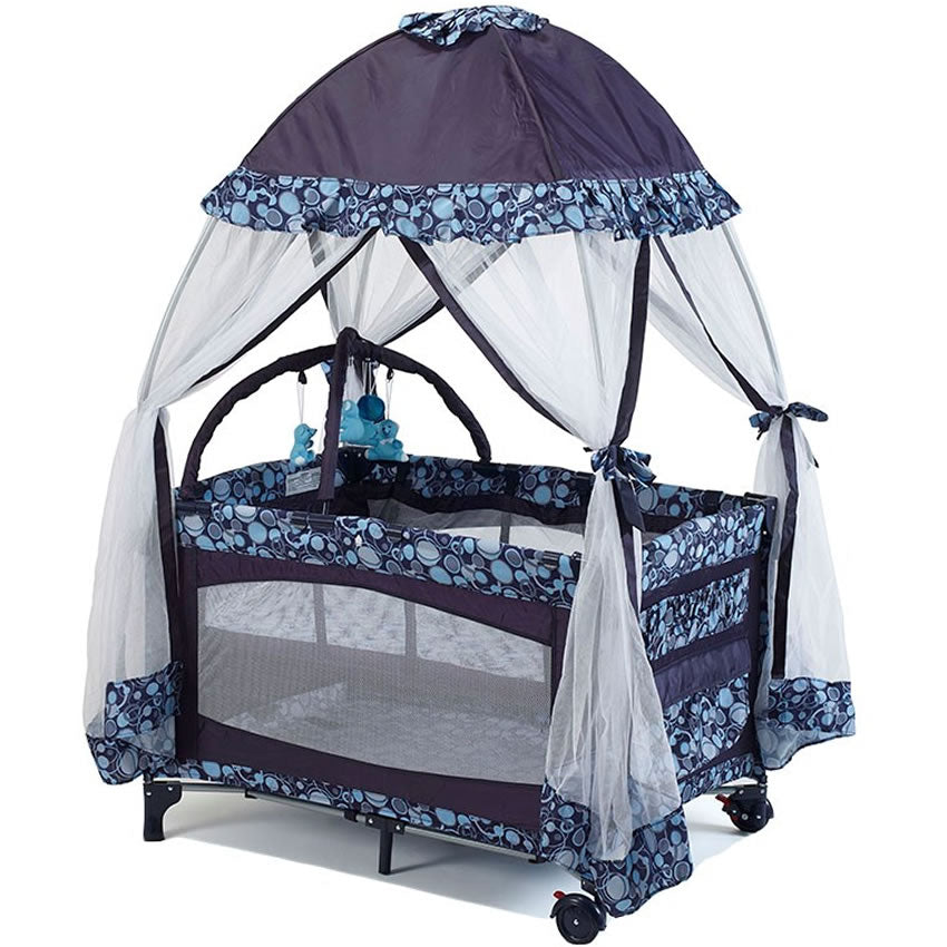 Big Oshi Playard with Mosquito Net & Carry Bag - Navy Blue