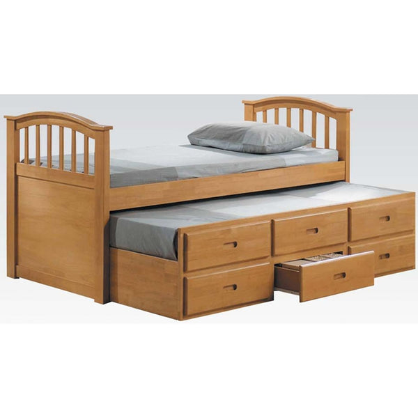 Acme Furniture San Marino Twin Beds W/Trundle and 3 Drawers - Maple Finish