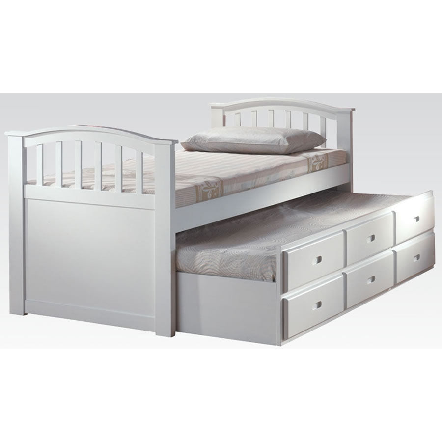 Acme Furniture San Marino Twin Beds W/Trundle and 3 Drawers - White Finish