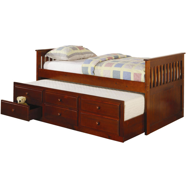 coaster furniture captain bed with trundle bed cherry - Captain Bed