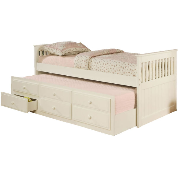 Mission Style Day Bed with Trundle, White