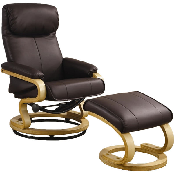 Coaster Furniture Leather Reclining Chair with Matching Ottoman