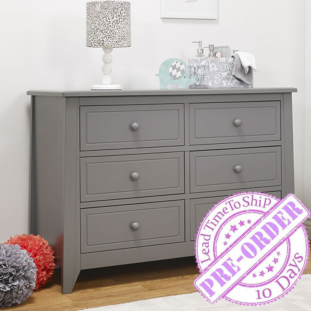 Sorelle Furniture Brittany 6 Drawer Double Dresser - Gray