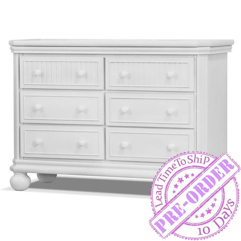 Sorelle Furniture Finley 6 Drawer Double Dresser - White
