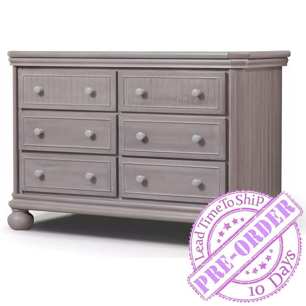 Sorelle Furniture Finley 6 Drawer Double Dresser - Weathered Gray