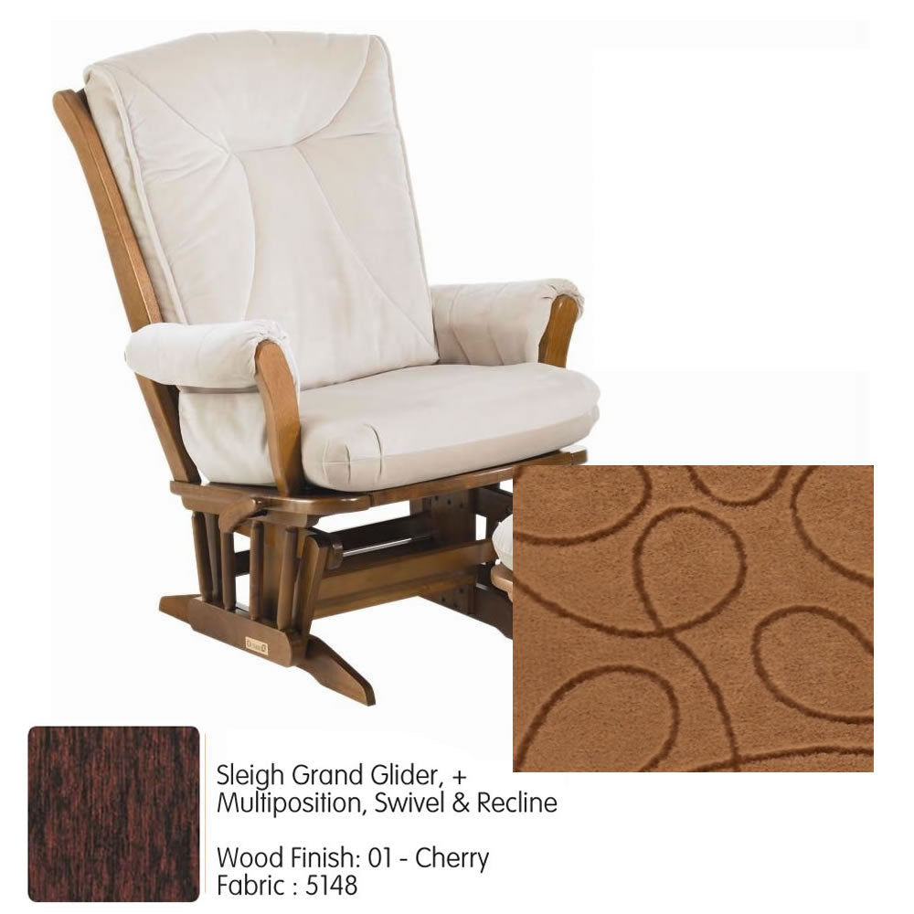 Dutailier Sleigh 912 Series Grand Glider + Multiposition, Swivel & Recline in Cherry With Cushion 5148