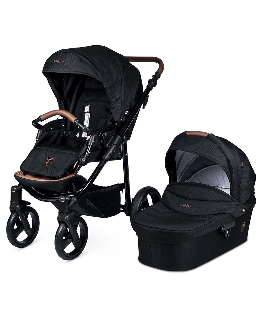 Venicci Gusto Stroller with Bassinet - Black/Black