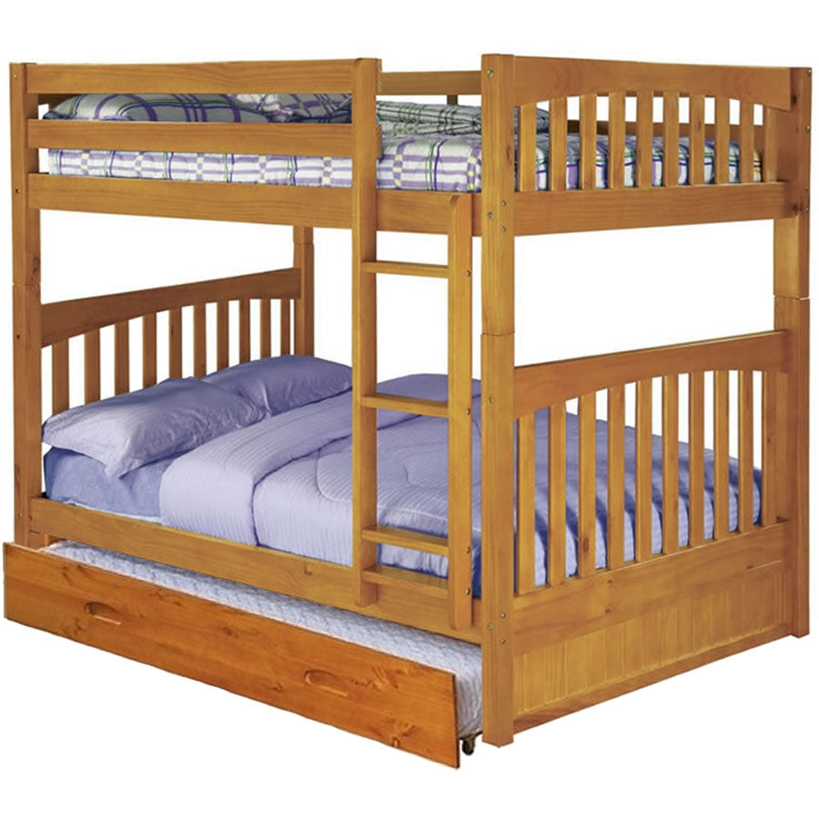 NE Kids Full - Full Mission Bunk Bed With Tein Trundle Bed, Honey