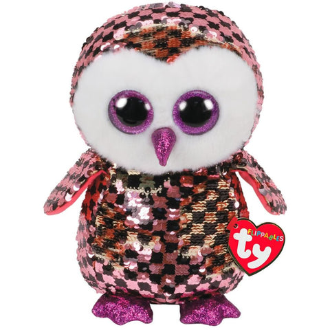 "TY Flippables Sequin Plush 9"" - Checks Owl"