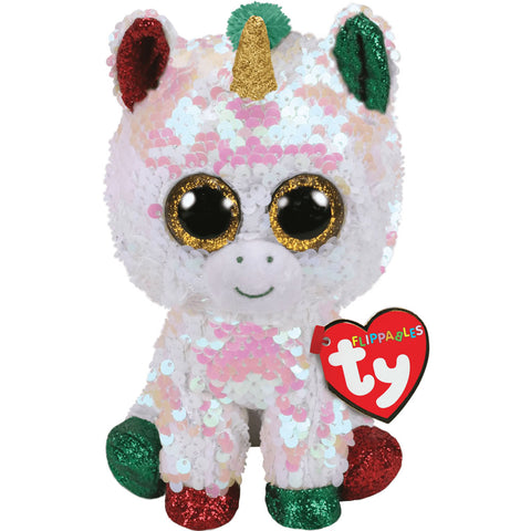 "TY Flippables Sequin Christmas Unicorn 9"" - Stardust"