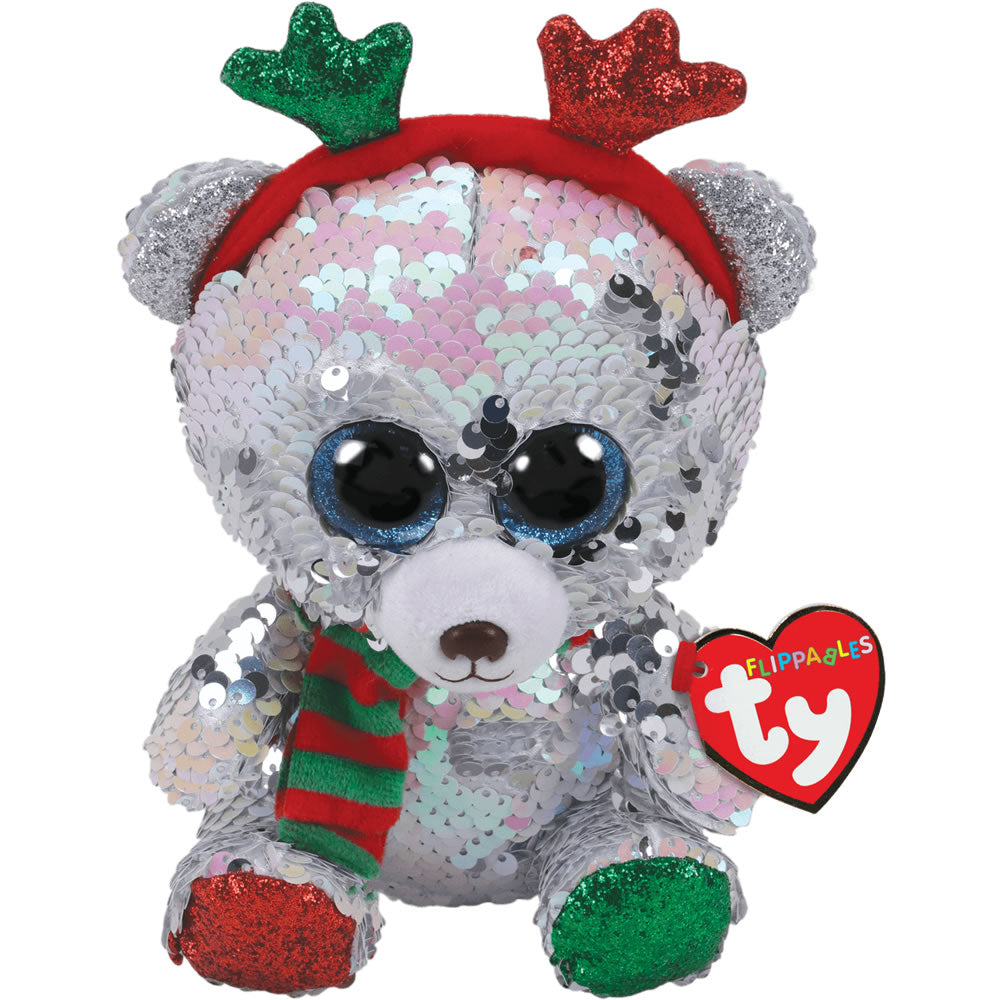 "TY Flippables Sequin Bear With Antlers 9"" - Mistletoe"