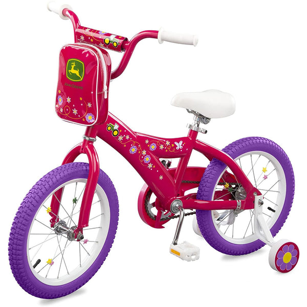"Tomy John Deere 16"" Girls Bicycle, Dark Pink"