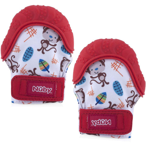 Nuby Happy Hands Teething Mitten 2 Pack - Red