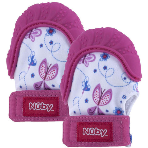 Nuby Happy Hands Teething Mitten 2 Pack - Pink