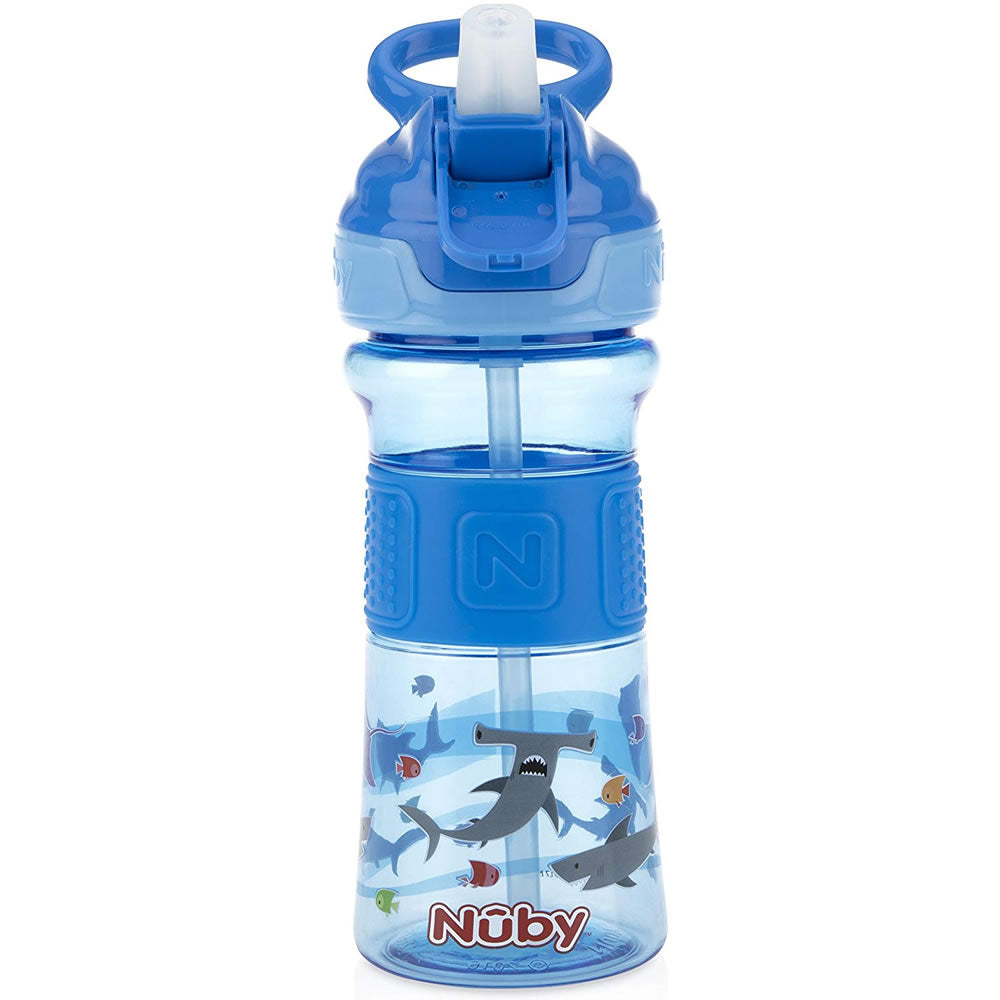 Thirsty Kids Flip-it ReFlex Sippy Cup, Blue Sharks