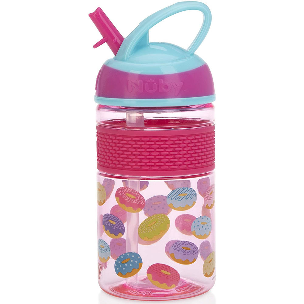 Thirsty Kids Flip-it Freestyle Straw Cup, Pink Donuts