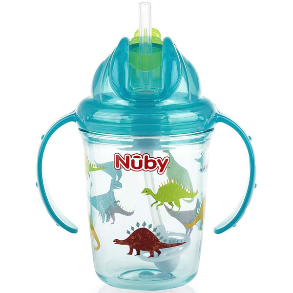 Nuby Active Sipeez 360 Flip N' Sip Straw Sippy Cup, Aqua Dinosaurs