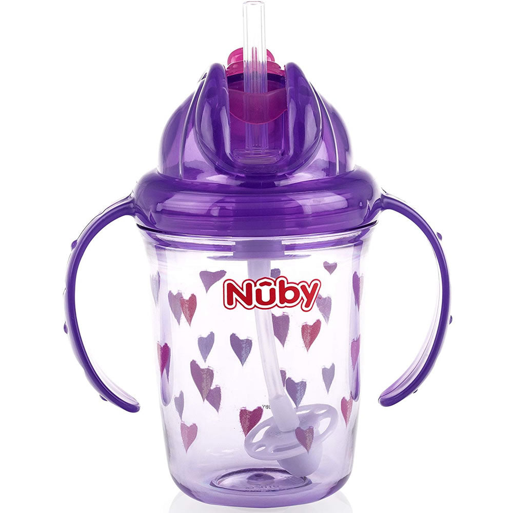 Nuby Active Sipeez 360 Flip N' Sip Straw Sippy Cup, Purple Hearts