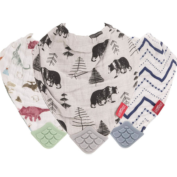 Nuby 100% Natural Cotton Muslin Teething Bib - 3 Pack, Dinosaur/Bear/Stripes