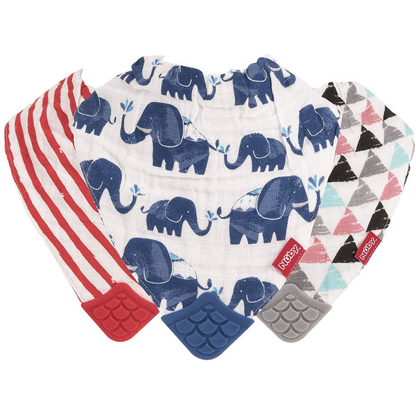 Nuby 100% Natural Cotton Muslin Teething Bib - 3 Pack, Arrows/Red Stripes/Elephants