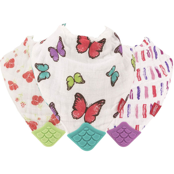 Nuby 100% Natural Cotton Muslin Teething Bib - 3 Pack, Flower/Butterfly/Stripes