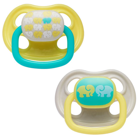 The First Years Orthodontic Pacifier Stage 2, Elephant Design - 2 Count