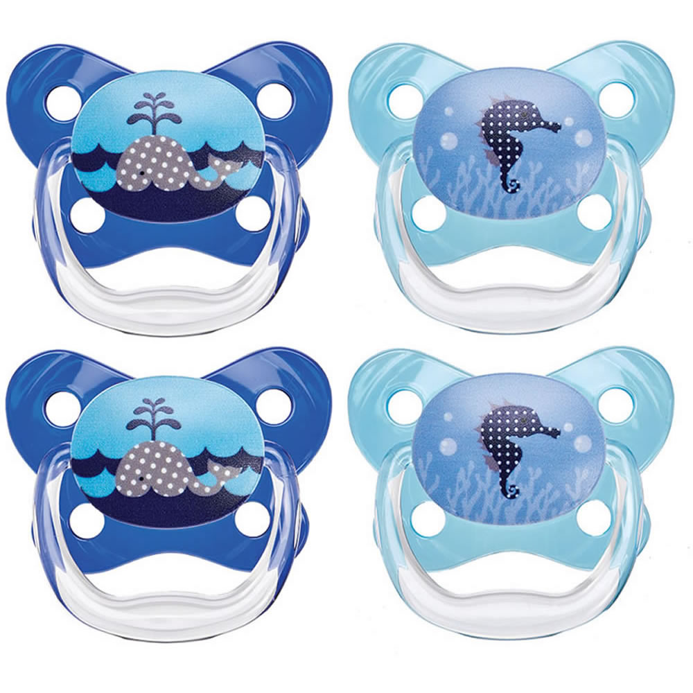 Dr. Brown's PreVent Contour Pacifier, Polka Dots Blue, 4-Pack