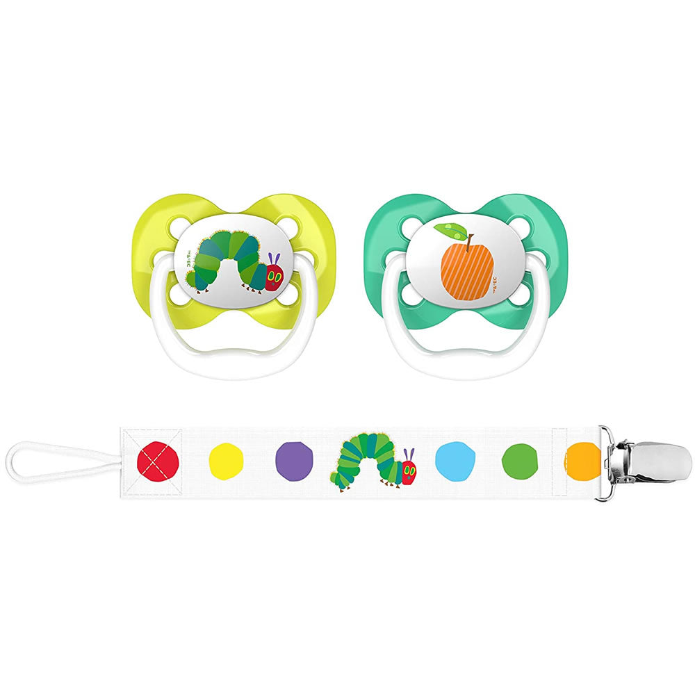 Dr. Brown\'s The Very Hungry Caterpillar Advantage Pacifiers With Clip, Caterpillar & Orange