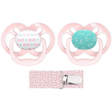 Dr. Brown's Advantage Pacifier with Pacifier Clip, Pink