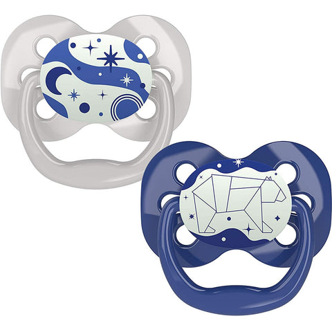 Dr. Brown's Advantage Glow-in-The-Dark Stage 1 Pacifiers, Blue